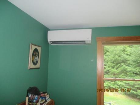 Pump on interior wall